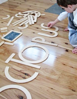 Wood letters for literacy play