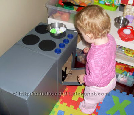 Cardboard play kitchen for kids