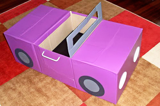 Image result for cardboard box car
