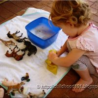 Sensory play: Washing Animals