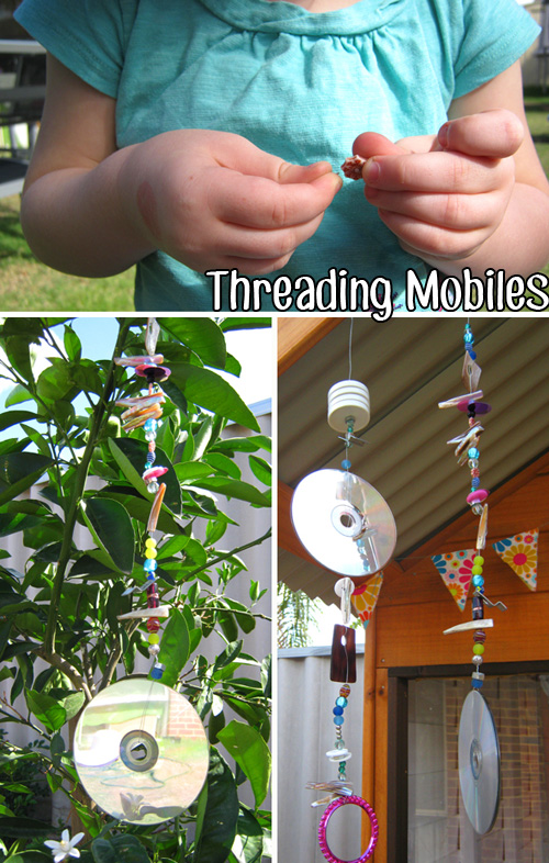 Toddler activities- Fine Motor Threading Mobiles | Childhood 101