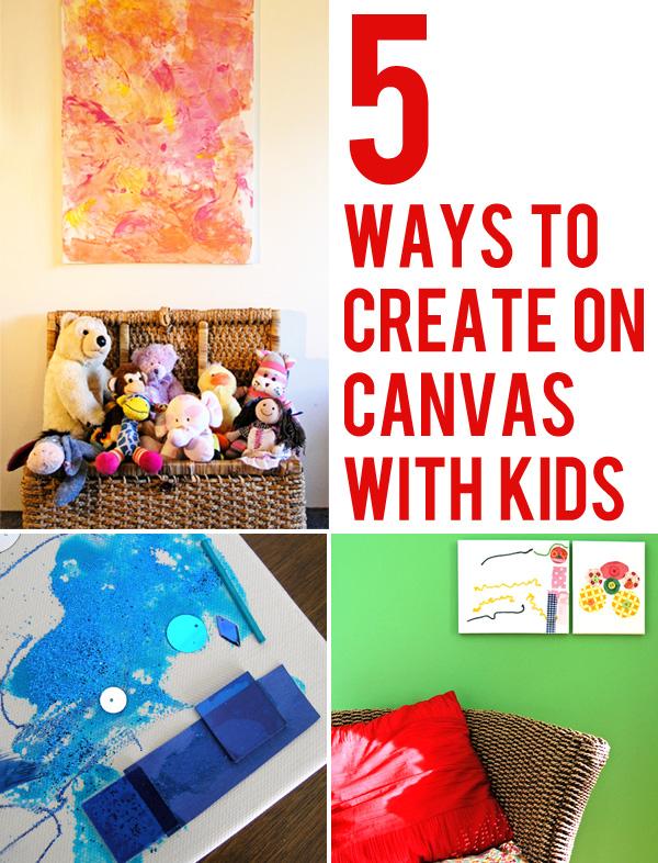 Kids Art Working On Canvas