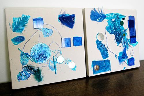 Kids art: Monochromatic collage on canvas