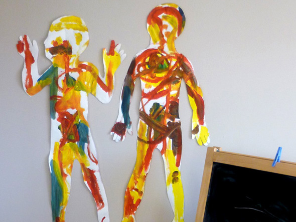 kids art body outlines