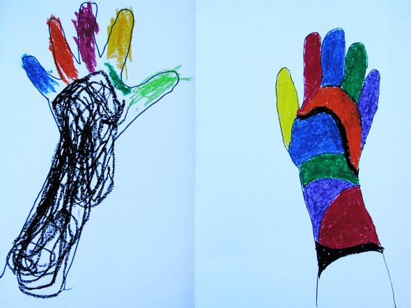 kids art body outlines