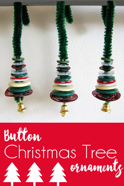 Button Christmas Tree Ornament Craft for kids