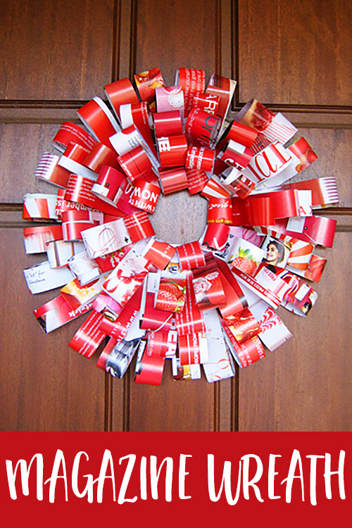 Homemade Paper Christmas Wreath from Recycled Magazines