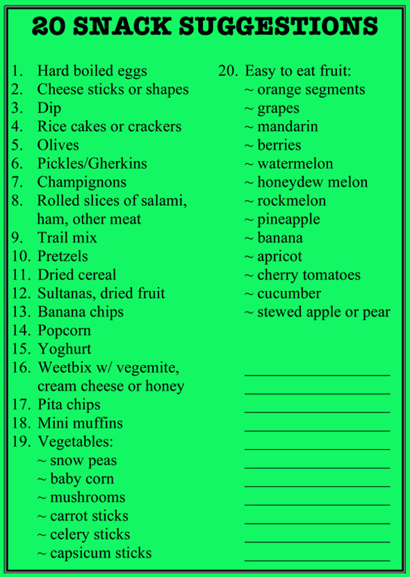 20 SNACK SUGGESTIONS