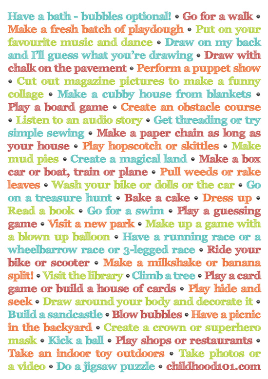 45 Things To Do Instead Of Turning On The TV Printable