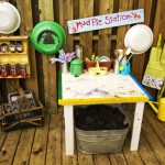 setting up a mudpie kitchen play space
