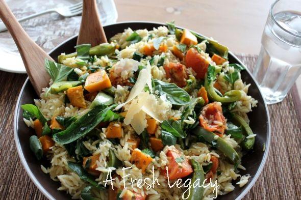 Warm Spinach Risoni Salad Recipe