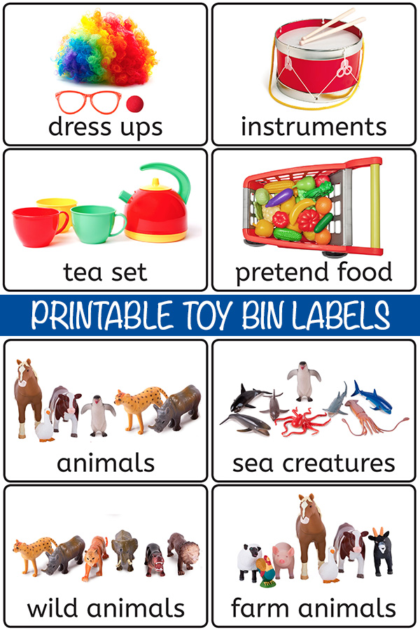 Free toy bin labels for playroom storage
