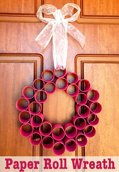 Homemade paper roll Christmas wreath