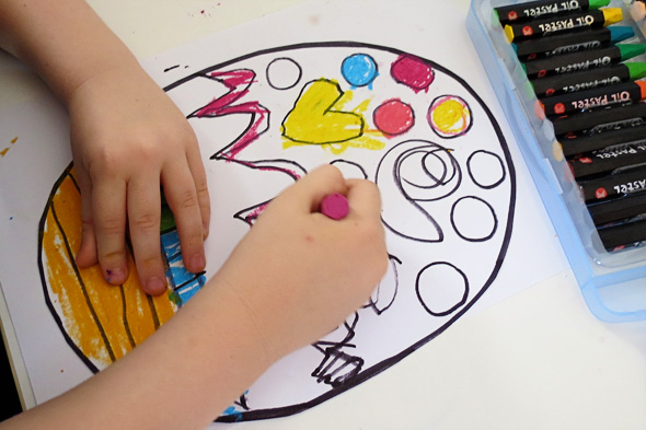 Childhood 101 Kids Art Ideas - Stained glass effect drawings with oil