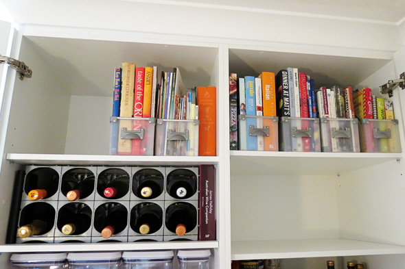 wine and recipe book storage