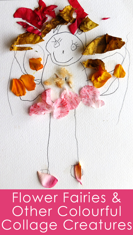 Kids art and nature ideas - flower collage creatures