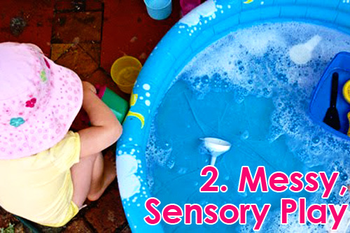 Outdoor Play Spaces - messy, sensory play ideas