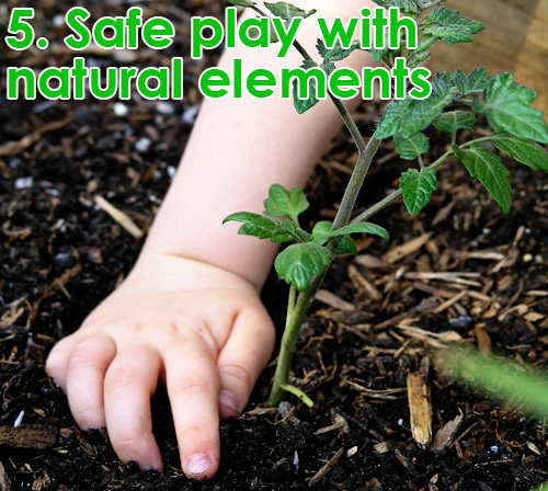 outdoor play space - natural elements growing vegetables