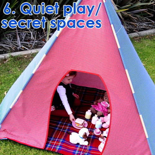 Outdoor Play Spaces - quiet play and secret spaces