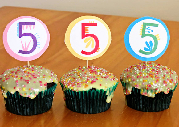 Printable Cupcake Toppers Birthday Numbers 15