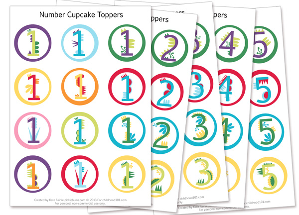 Free Printable Birthday Number Cupcake Toppers