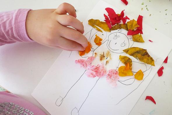 kids art - nature collage creatures