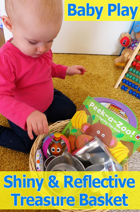 Post image for Activities for Babies: Shiny & Reflective Baby Treasure Basket