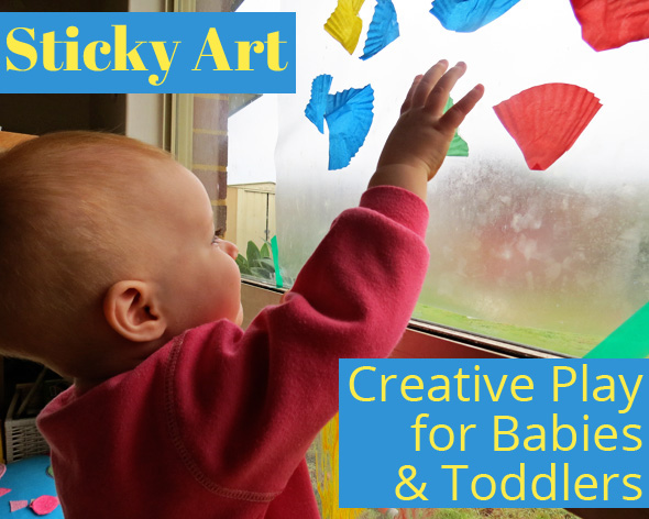 Toddler Art Activities: Non-Messy Sticky Art. No Glue Required.