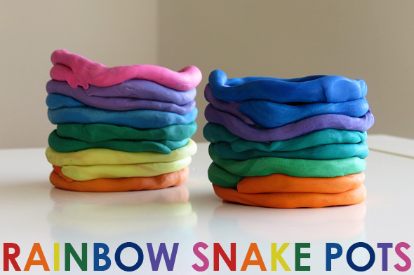 Childhood 101 Kids art - plasticine rainbow snake pots