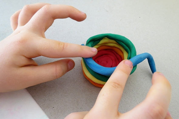 Childhood 101 Kids art - rainbow plasticine pots
