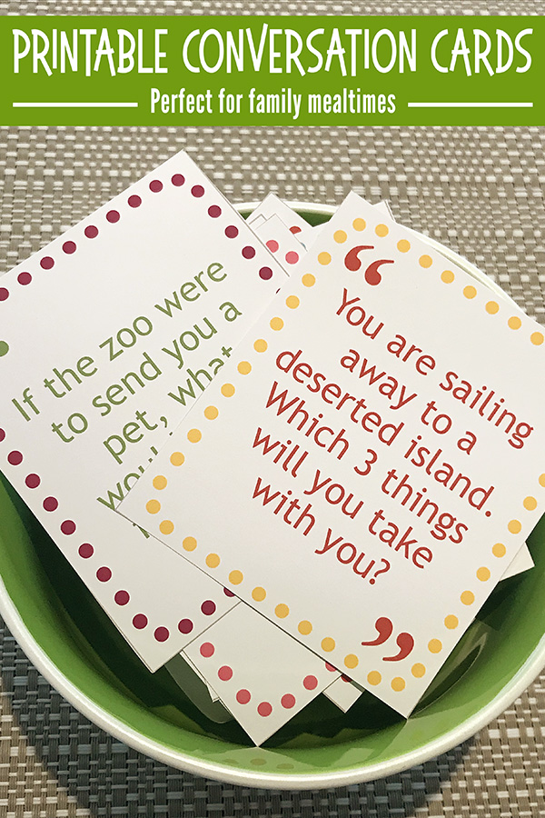 Printable conversation cards for families