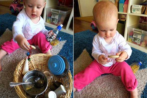 Childhood 101   Activities for Babies -Exploring Sounds Treasure Basket