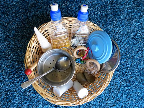 Activities for babies exploring sound treasure basket childhood101