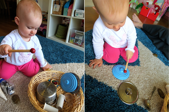 Childhood 101   Play Activities for Babies -Exploring Sounds Treasure Basket