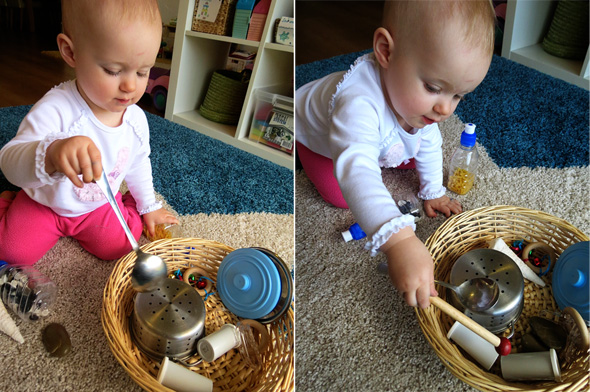 Childhood 101   Play Activity Ideas for Babies -Exploring Sounds Treasure Basket
