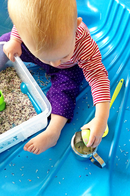 Childhood 101 Rosemary Rice Sensory Play