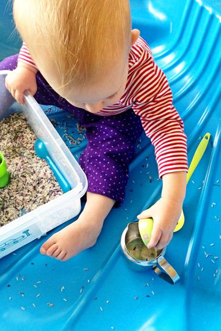 Childhood 101 Rosemary Rice Sensory Play
