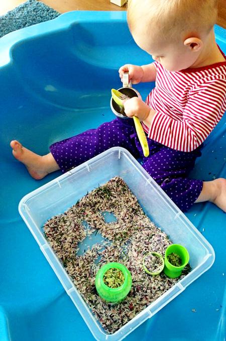 Childhood 101- Rosemary Rice Sensory Play