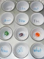 muffin tin sight words activities