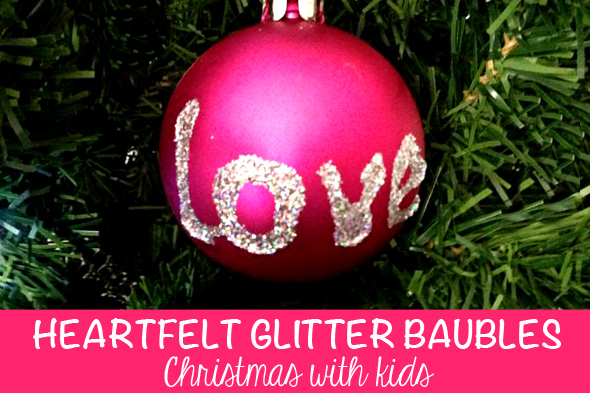Homemade Christmas ideas-personalised glitter baubles via Childhood 101