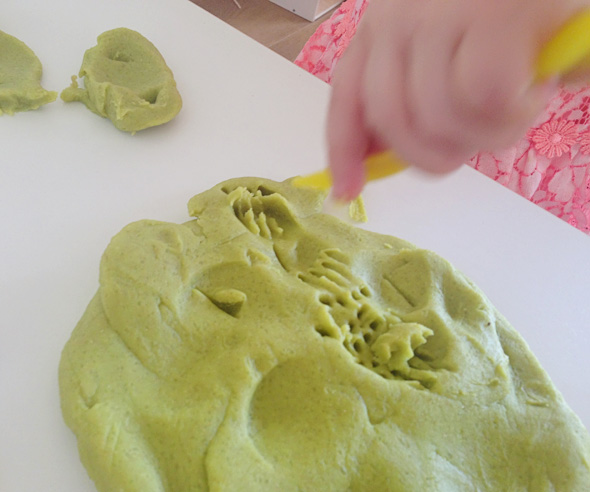 Toddler playdough fun-making impressions-Childhood 101