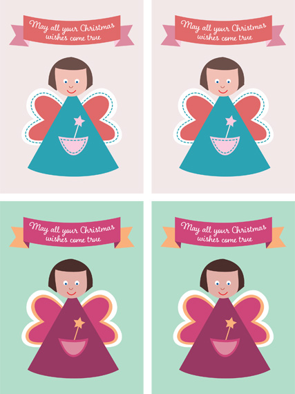 Printable Christmas fairy gift tags