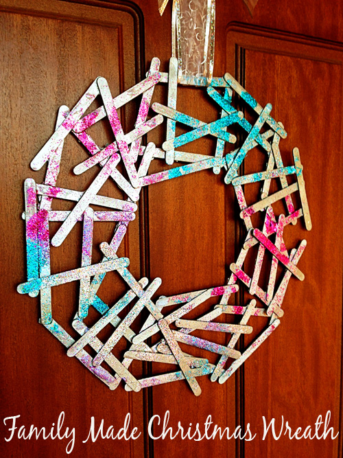 Homemade Craft Stick Christmas Wreath