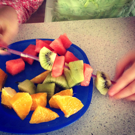 18 Fun Kids Snack Ideas Fruit Kebabas via Childhood 101