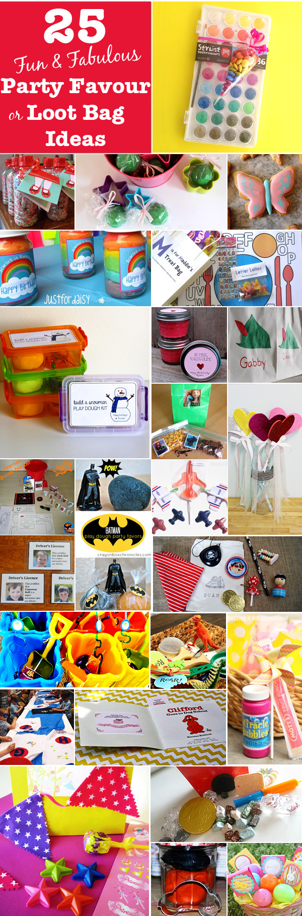 25 Loot Bag Or Party Favour Ideas For Kids Parties