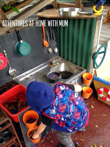 Our play space outdoor mud kitchen