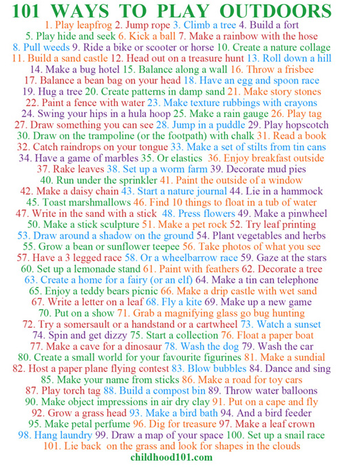 101 Ways to Have Fun Outdoors Printable Poster