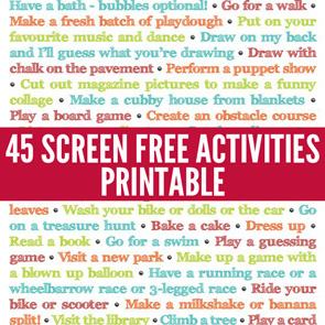 101 Ways to Play Outdoors Printable Poster