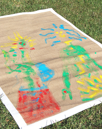 Kids art ideas: Rug painting