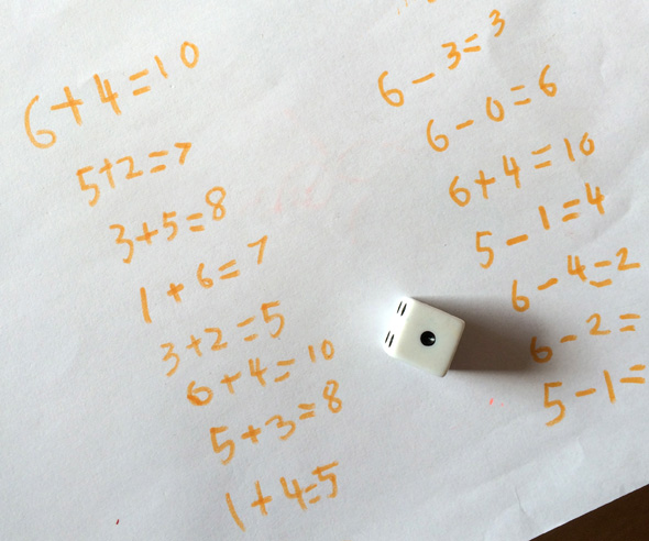 Math games for kids: Dice roll for number sentences